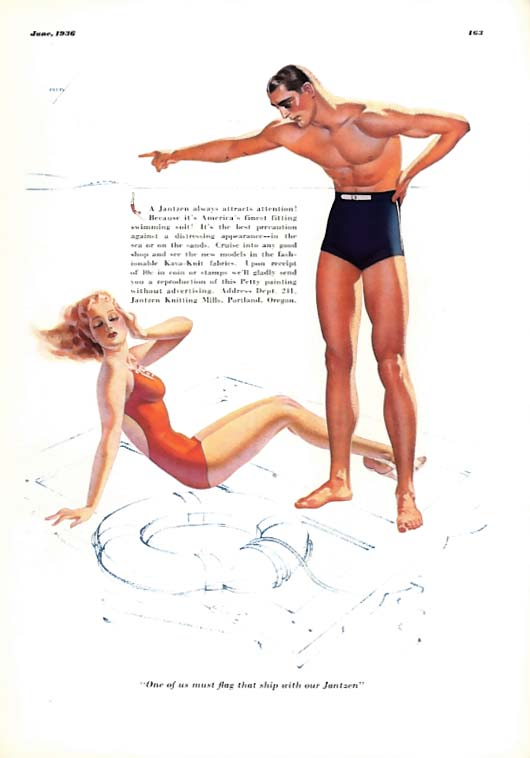 George Petty Girl pin-up One of us must flag that ship with our Jantzen ad 1936
