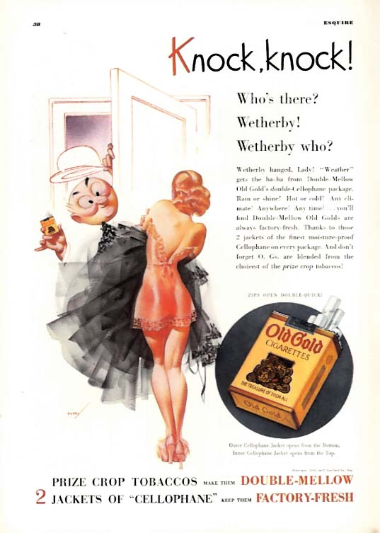 George Petty Girl pin-up Knock knock! Who's there? Old Gold Cigarettes ad 1936