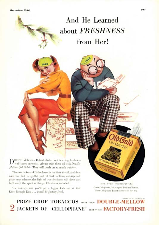 George Petty Girl pin-up He learned about Freshness from her! Old Gold ad 1936