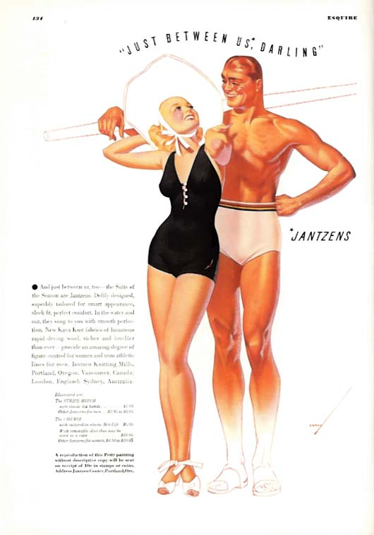 George Petty Girl pin-up Just between us, darling Jantzen Swimsuit ad 1937