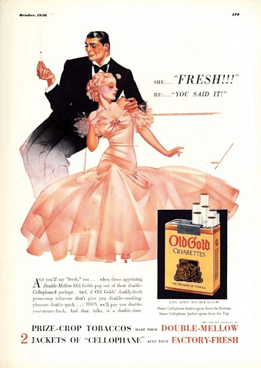 Image for George Petty Girl pin-up She: Fresh! He: You said it Old Gold Cigarettes ad 1936