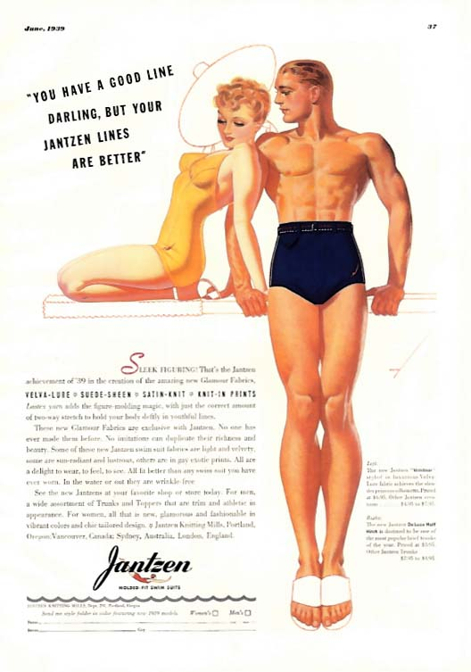 Image for George Petty Girl pin-up You have a good line, darling Jantzen Swimsuits ad 1939
