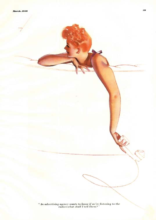 Image for George Petty Girl pin-up cartoon 1939 redhead answering telephone