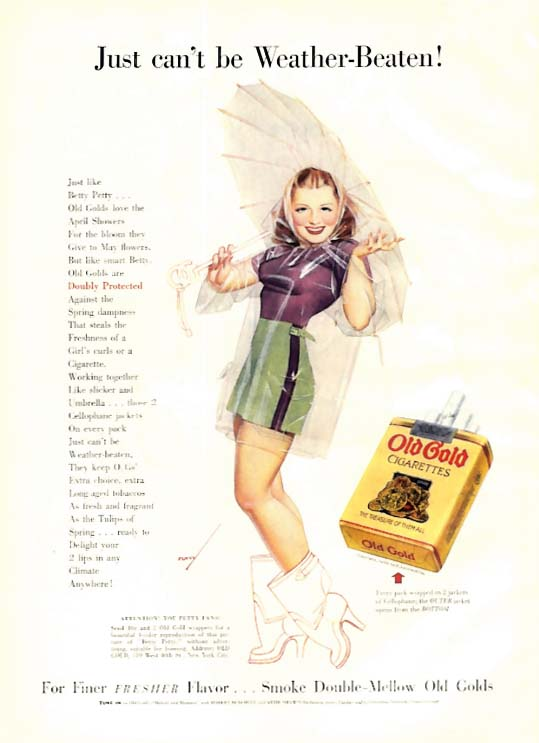 Image for George Petty Girl pin-up Can't be Weather-Beaten! Old Gold Cigarettes ad 1939
