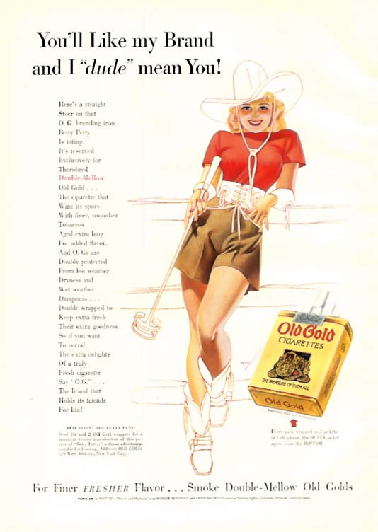 George Petty Girl pin-up I dude mean you! Old Gold Cigarettes ad 1939 cowgirl