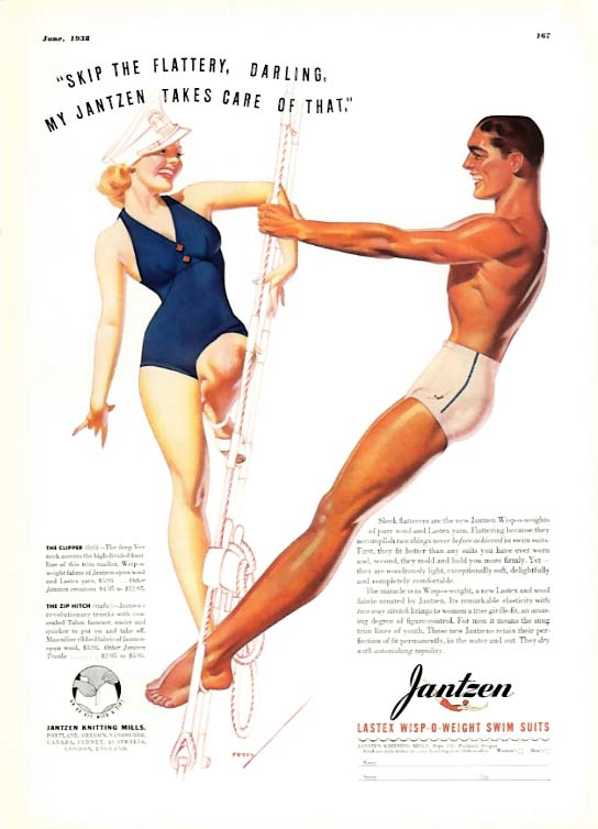 Image for George Petty Girl pin-up Skip the flattery, darling! Jantzen swimsuit ad 1938