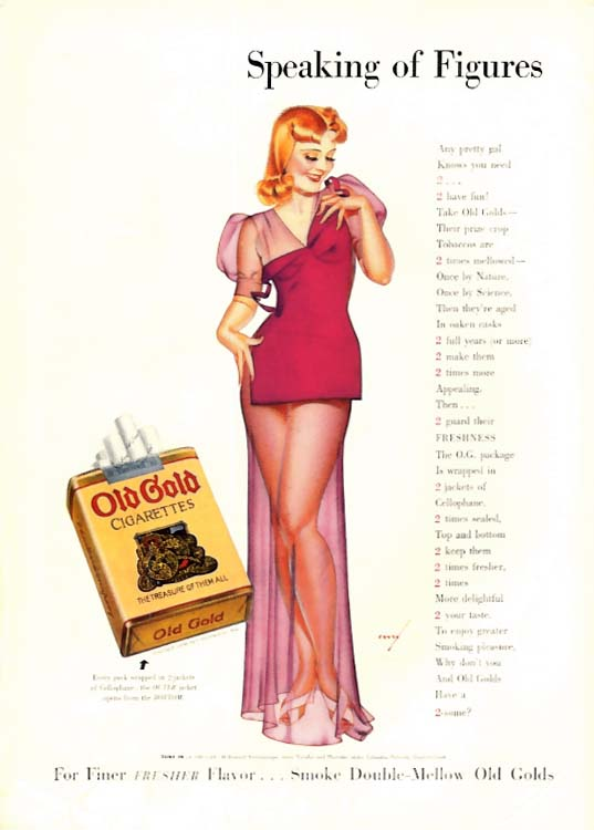 George Petty Girl pin-up Speaking of Figures Old Gold Cigarettes ad 1938