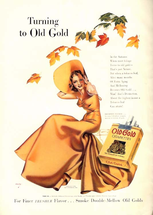 Image for George Petty Girl pin-up Turning to Old Gold Cigarettes ad 1938 autumn leaves