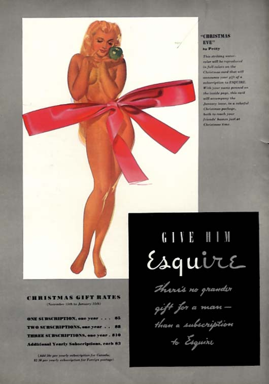George Petty Girl pin-up Christmas Eve! Give him Esquire ad 1938