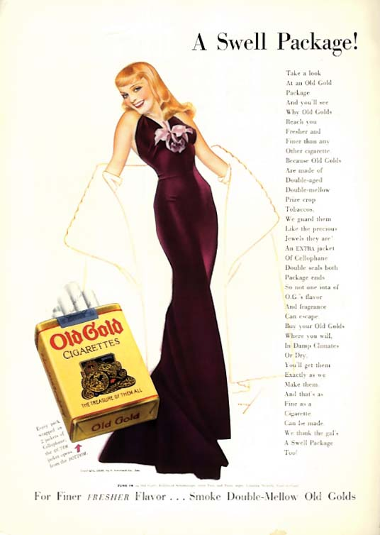 George Petty Girl pin-up A Swell Package Old Gold Cigarettes ad 1938