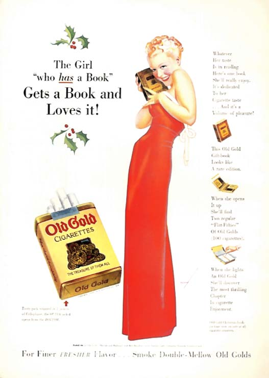 George Petty Girl pin-up Girl gets a book & loves it Old Gold Cigarettes ad 1938