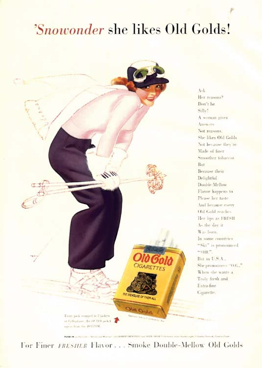 Image for George Petty Girl pin-up 'Snowonder she likes Old Gold Cigarettes ad 1939 skiing