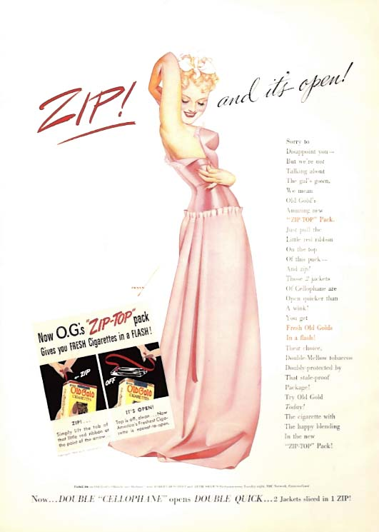 George Petty Girl pin-up ZIP! And it's open! Old Gold Cigarettes ad 1939