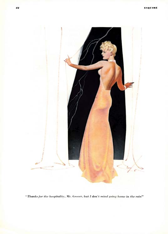 George Petty Girl pin-up I don't mind going home in the rain 1936