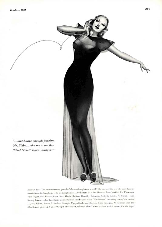 """George Petty Girl pin-up I have enough jewelry, take me to """"52nd Street"""" 1937"""