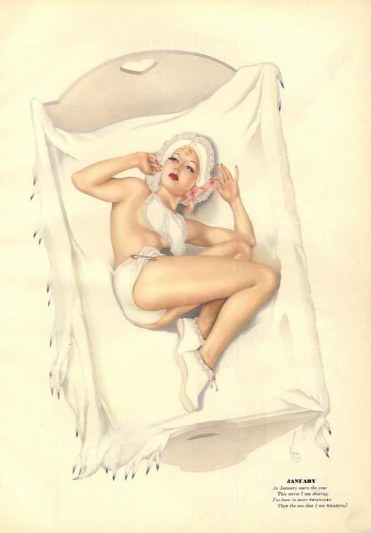 George Petty Girl pin-up Babykins in crib / ice skater 2-sided sheet