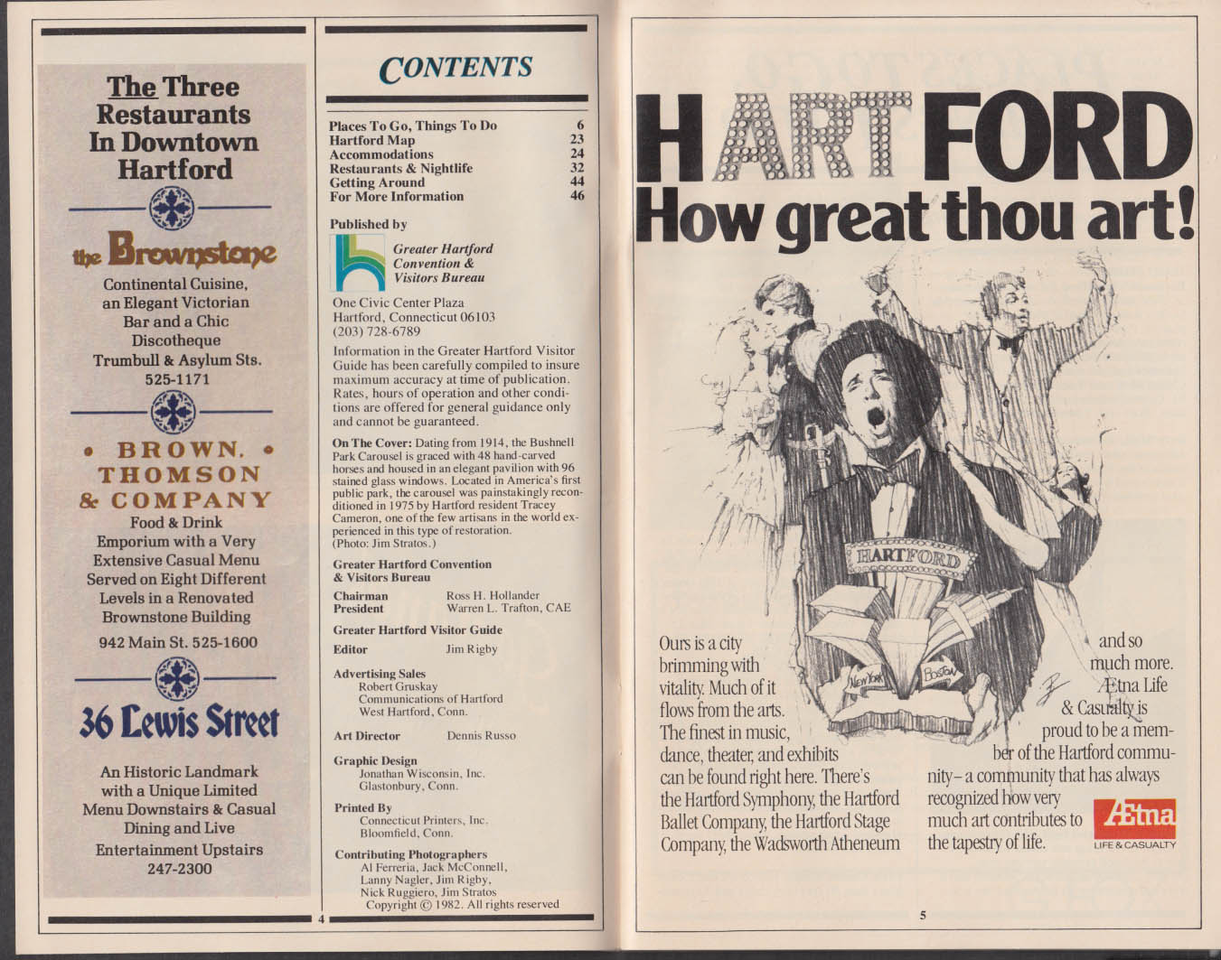 Hartford CT Visitor Guide 1982 carousel Mark Twain Essex train ++