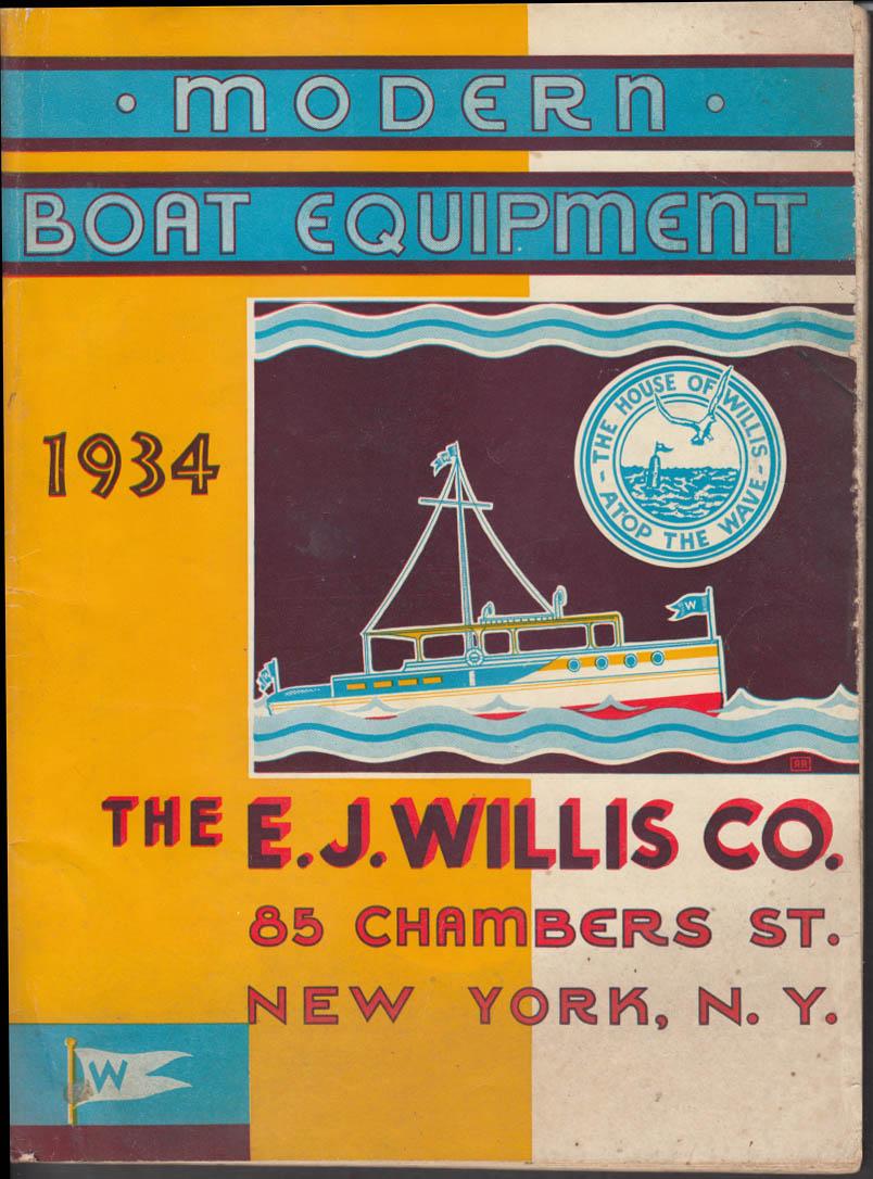 E J Willis Modern Boat Equipment Catalog 1934 New York City