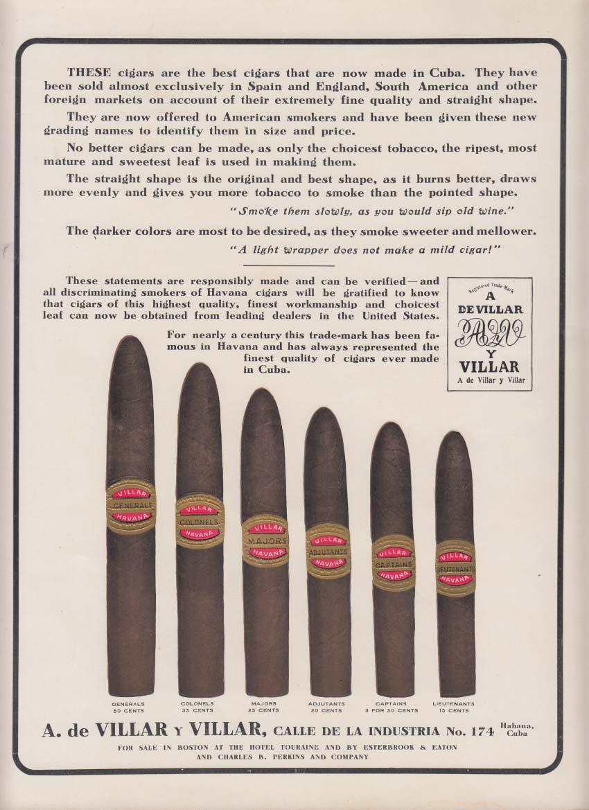 A de Villar y Villar Cuban Cigars sell sheet / poster ca 1920s