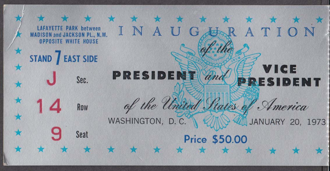 Richard Nixon Spiro Agnew Presidential Inauguration Ticket Stub 1973