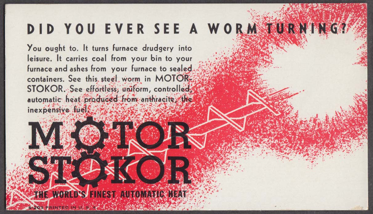 Motor Stokor for Coal Furnaces advertising blotter 1940s