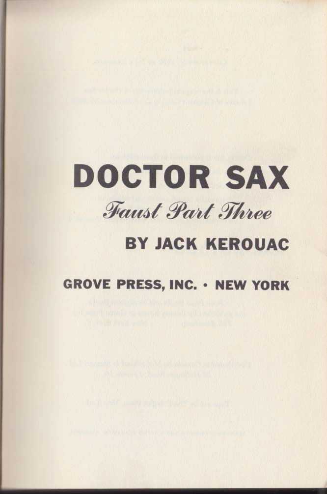 Jack Kerouac: Doctor Sax: Evergreen E-160 1959 1st edition