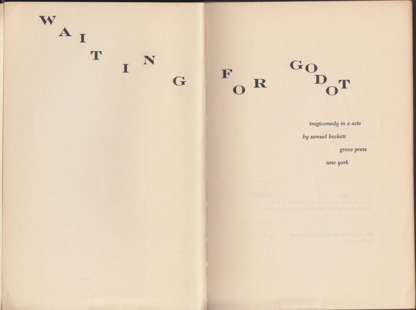Samuel Beckett: Waiting for Godot: Evergreen E-33 1954 1st edition