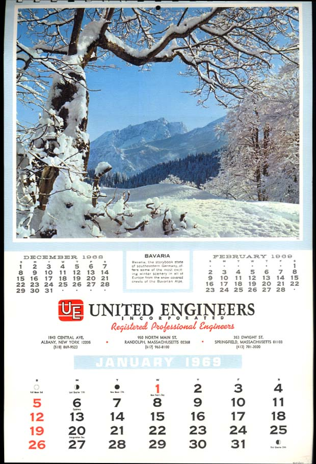 Calendar 1969.United Engineers Albany Ny Randolph Springfield Ma Advertising