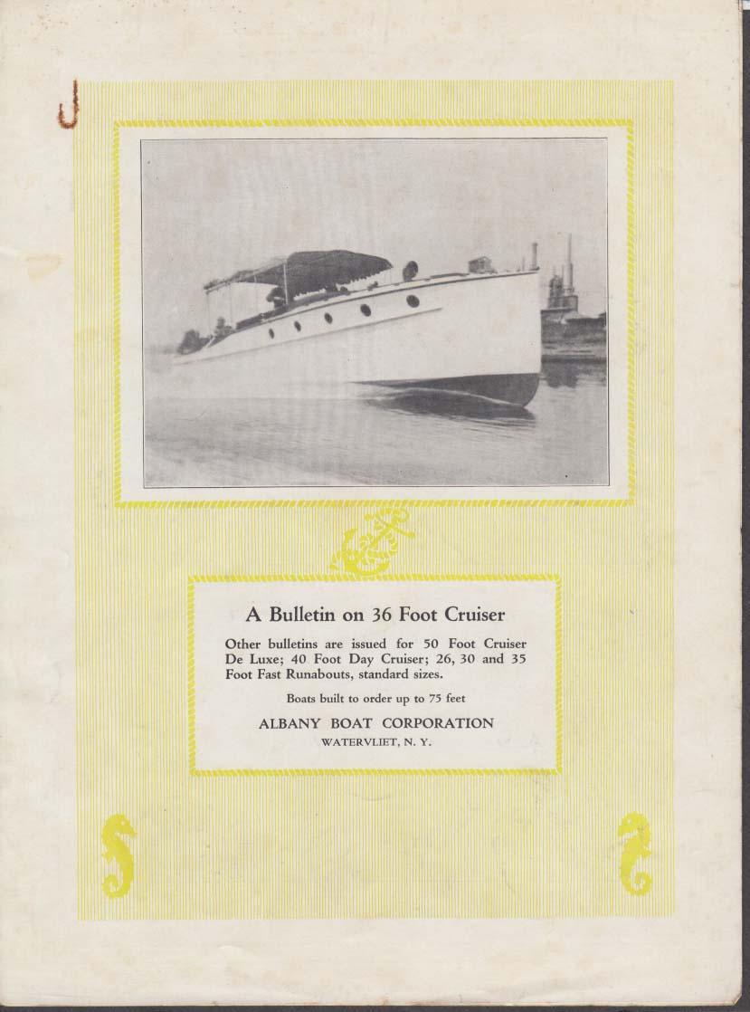 Albany Boat Corporation Bulletin on 36-Foot Cruiser folder 1930s