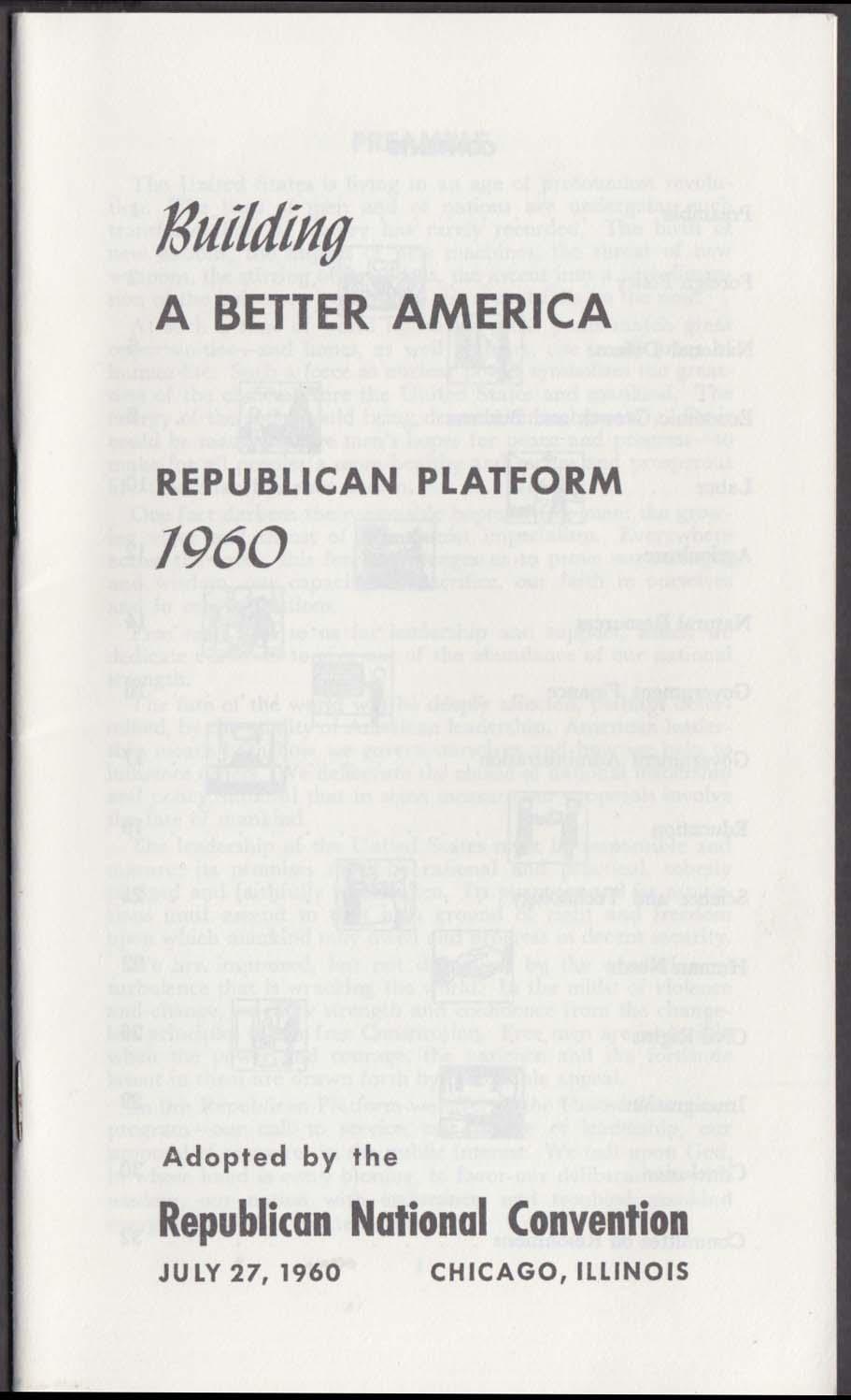 Richard Nixon Building A Better America Republican Platform 1960