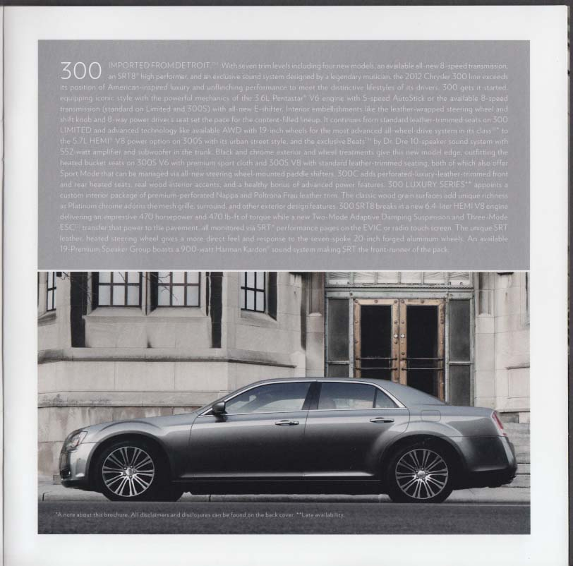 2012 Chrysler 300 200 Town & Country sales brochure
