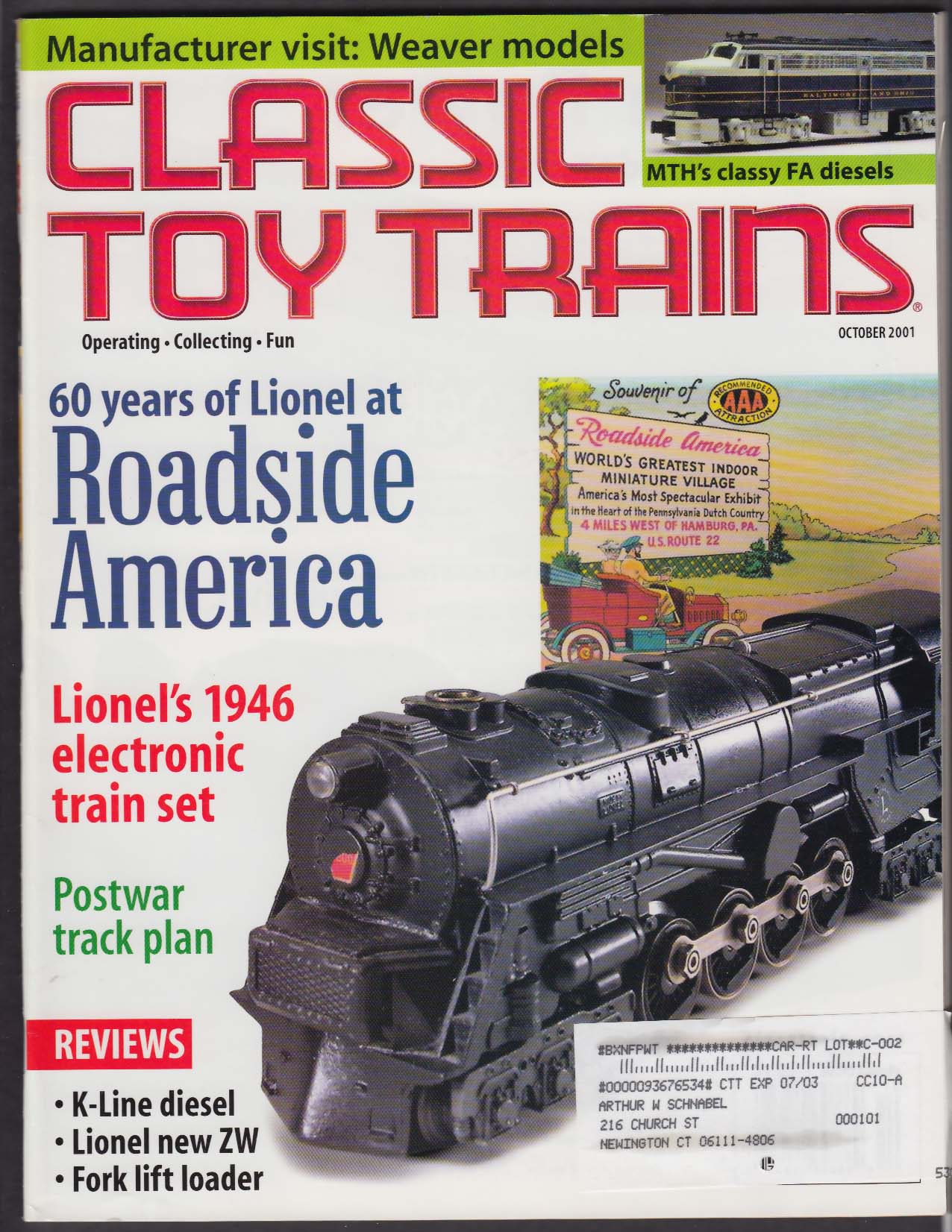 CLASSIC TOY TRAINS Lionel 1946 Electronic MTH FA Diesel Weaver Models + 10 2001