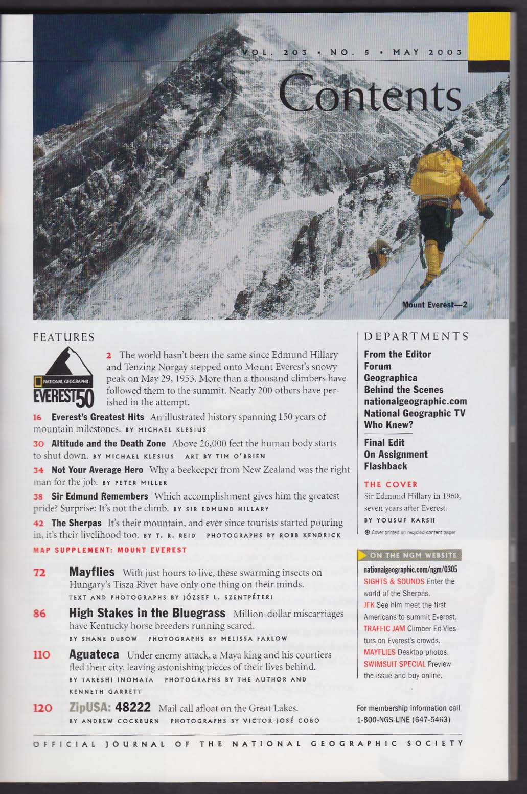 NATIONAL GEOGRAPHIC Sir Edmund Hillary Mount Everest 5 2003