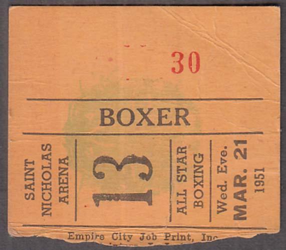 Saint Nicholas Arena Boxer's Admission Ticket Stub 3/21 1951