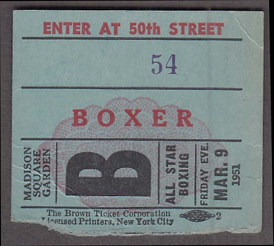 Saint Nicholas Arena Boxer's Admission Ticket Stub 3/9 1951