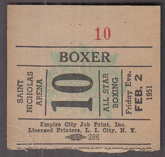 Saint Nicholas Arena Boxer's Admission Ticket Stub 2/2 1951