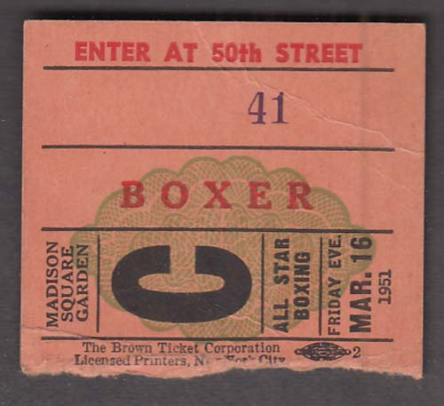 Madison Square Garden Boxer's Admission Ticket Stub 3/16 1951