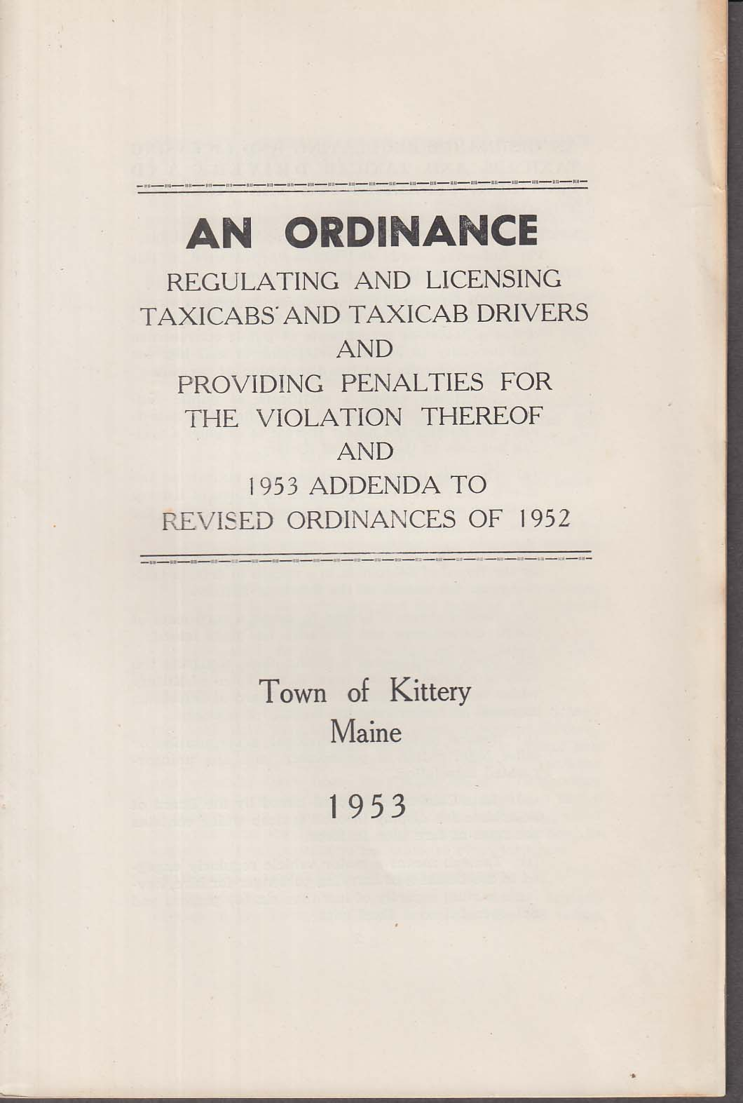 Kittery Maine Ordinance Regulating & Licensing Taxicabs & Drivers 1953