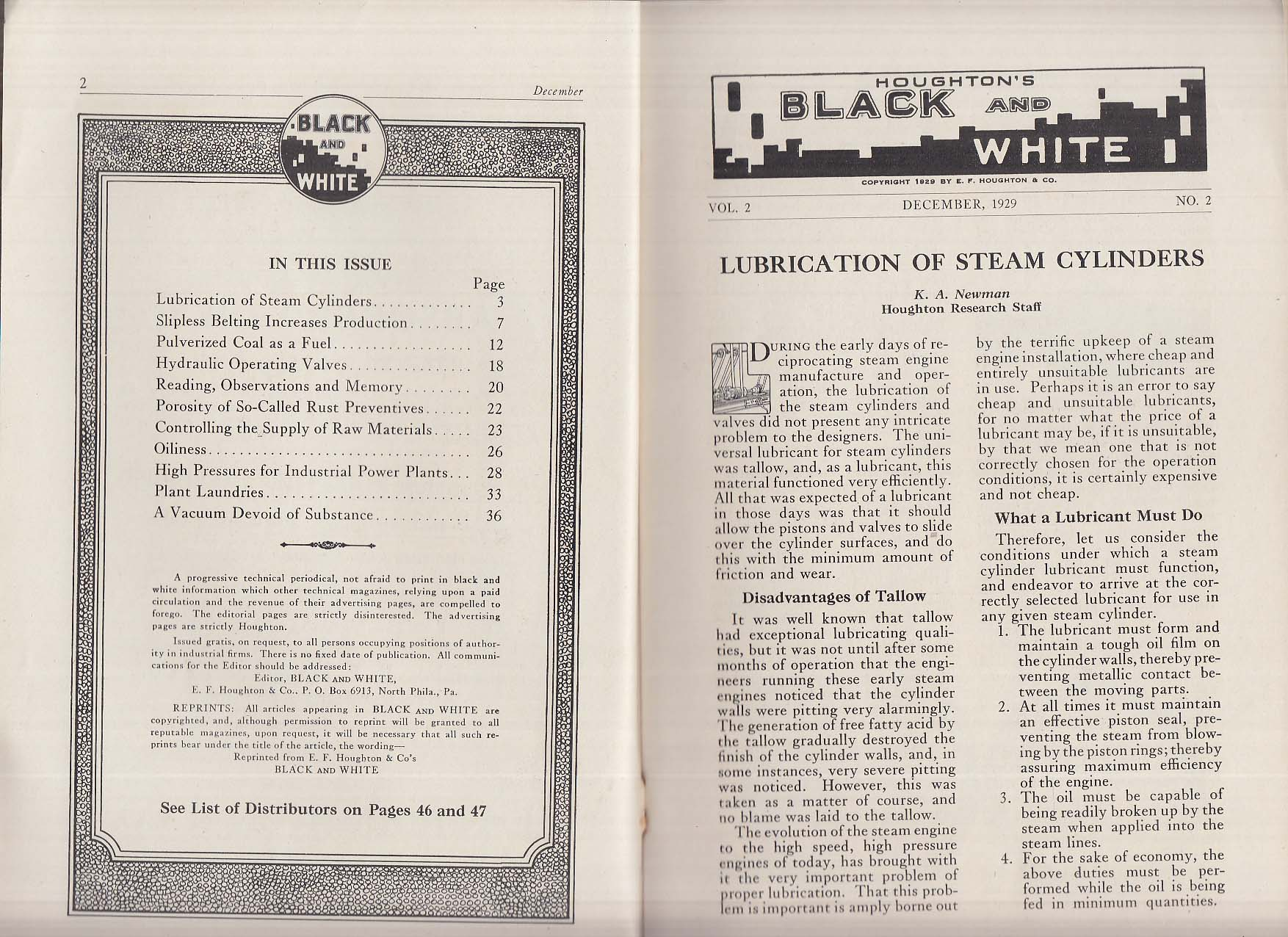 Houghton's Black & White 12 1929 Steam cylinder lube; pulverized coal etc