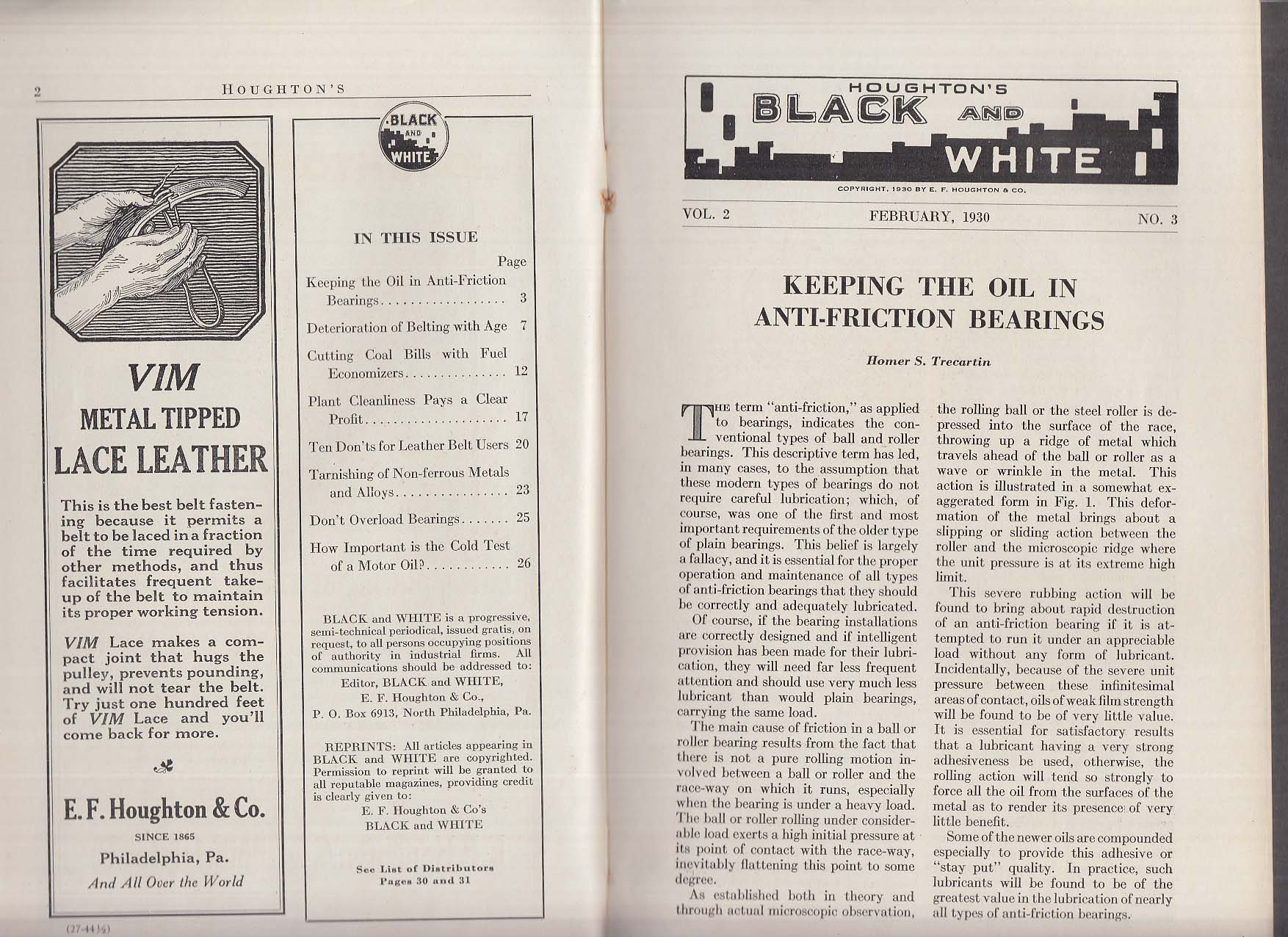 Houghton's Black & White 2 1930 Oil in anti-friction bearings; leather belt tips