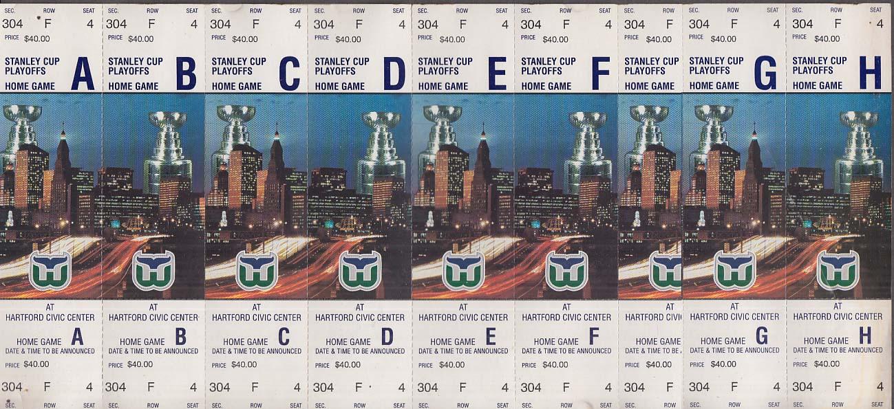 Hartford Whalers unused strip of 8 unused Stanley Cup Playoff tickets
