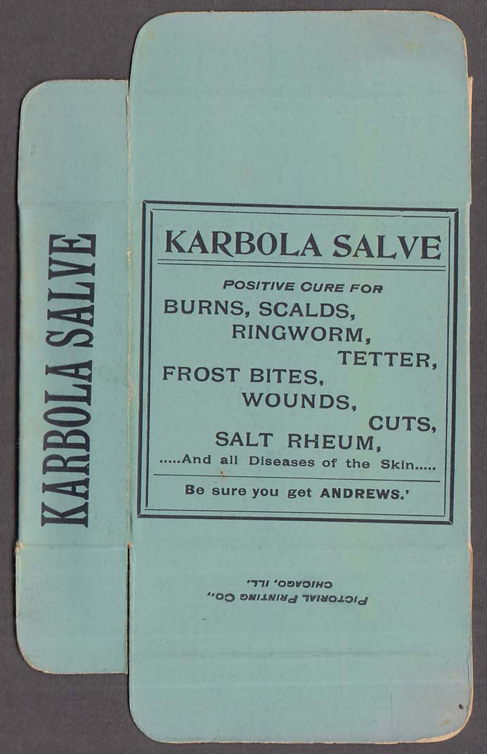Andrews' Karbola Salve unused box ca 1920s for tetter, salt rheum, scalds +