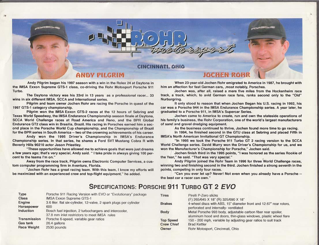 SIGNED Andy Pilgrim Jochen Rohr Porsche 911 Turbo GT 2 EVO card 1998