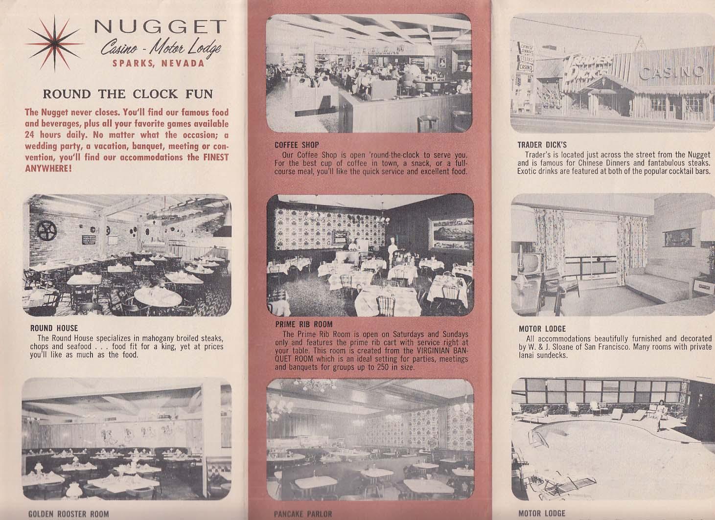 Nugget Casino-Motor Lodge Map of Reno & Sparks NV ca 1959
