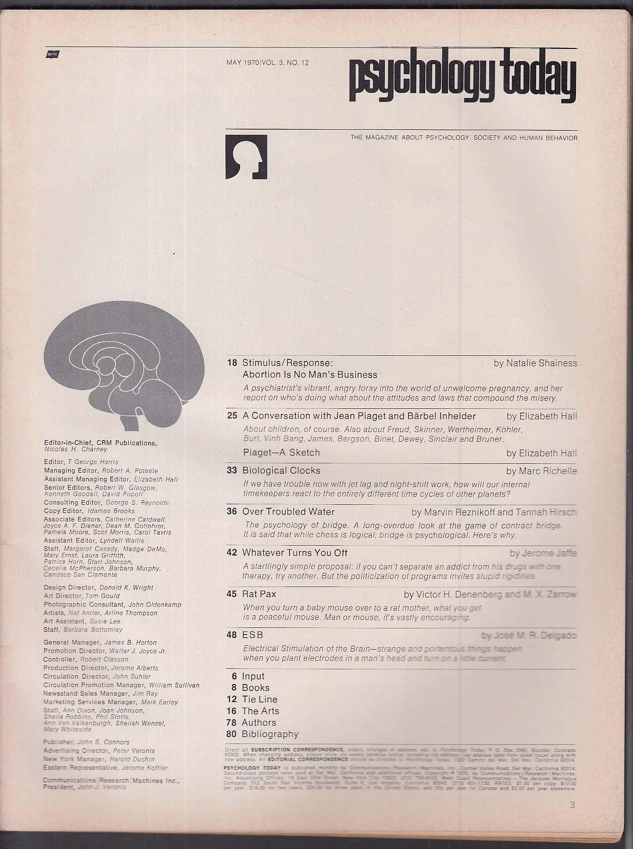 PSYCHOLOGY TODAY Jean Piaget Barbel Inhelder Jose M R Delgado Abortion 5 1970