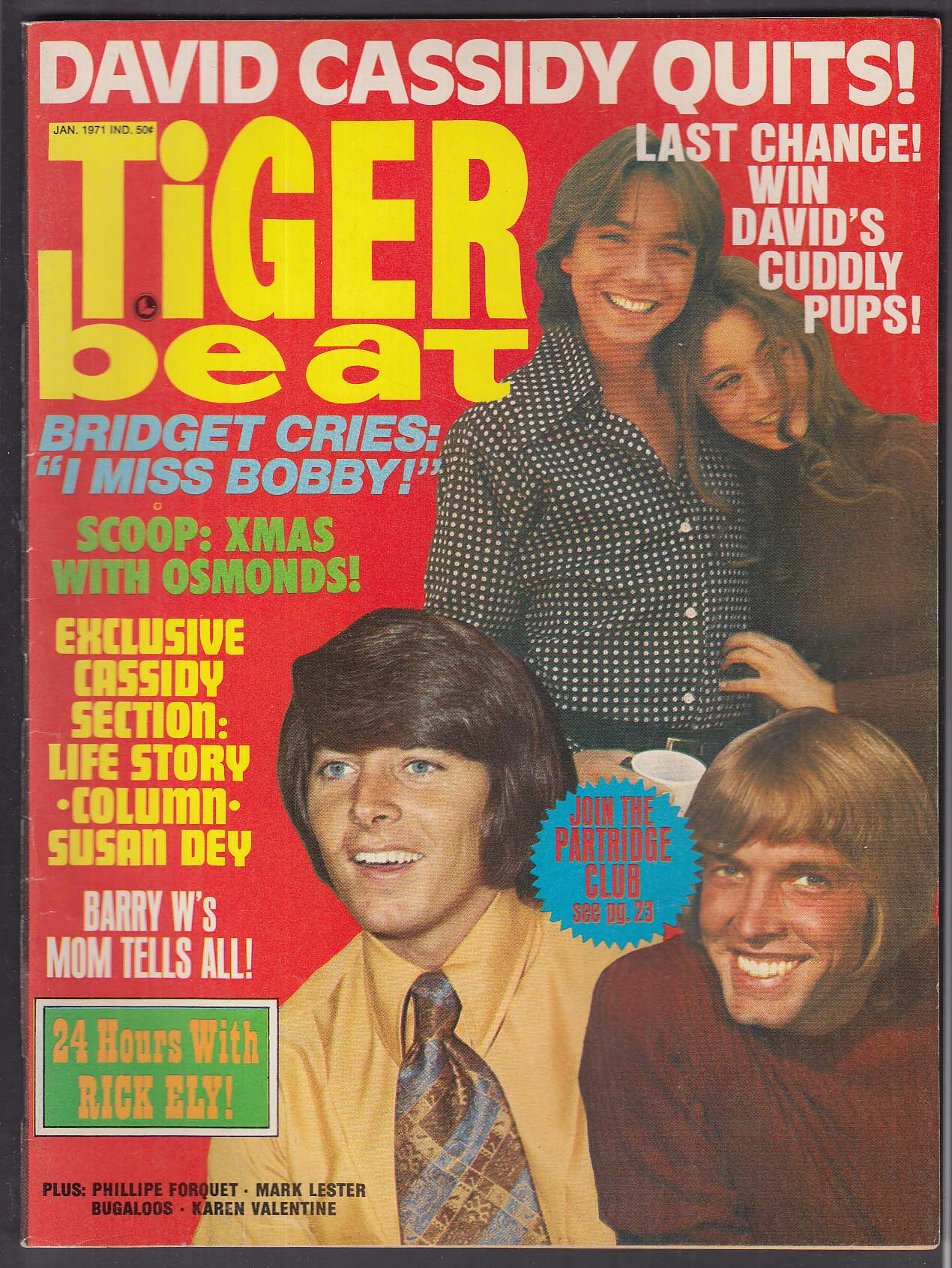 TIGER BEAT David Cassidy Bobby Sherman Donny Osmond Karen Valentine + 1 1971