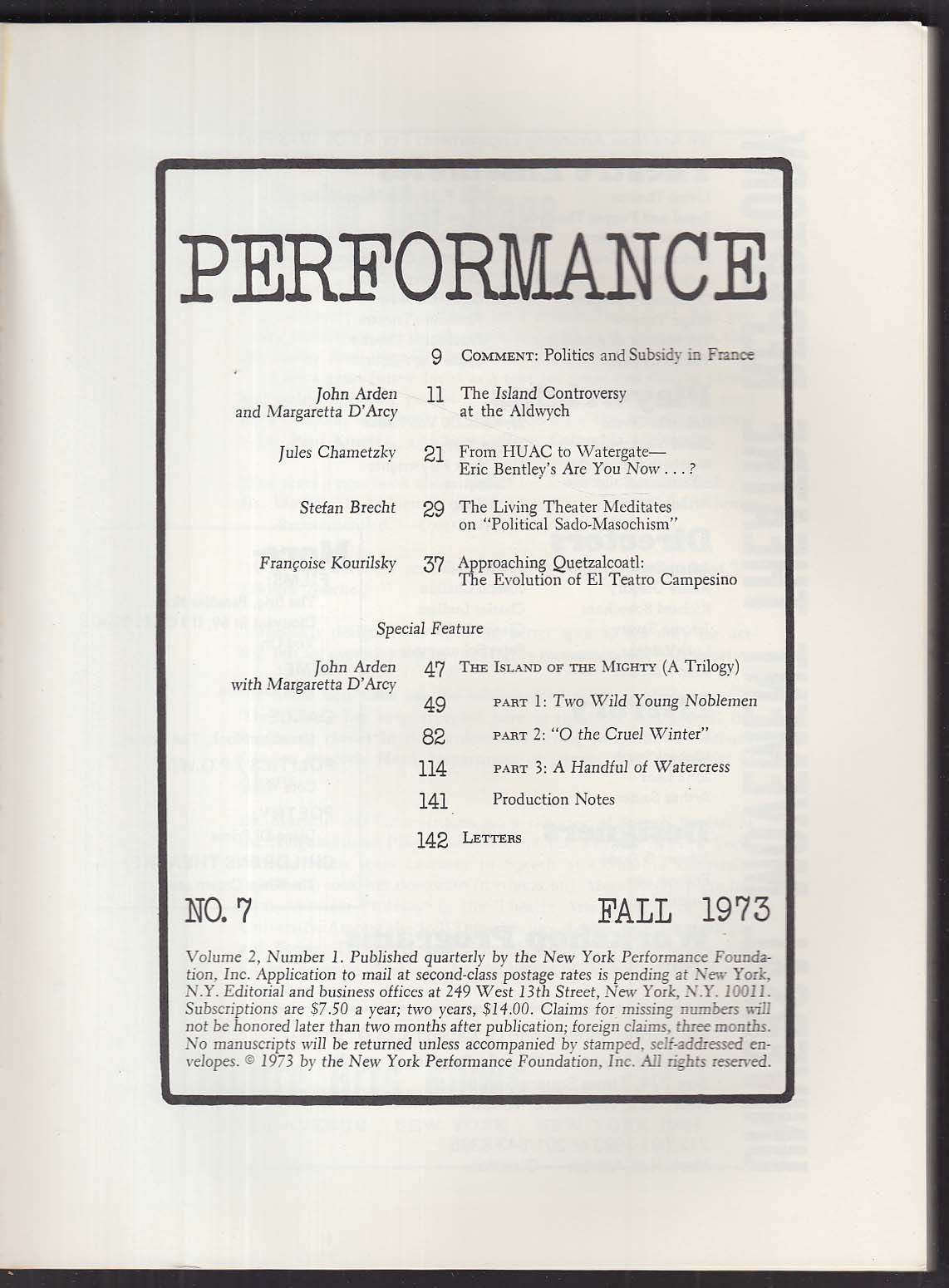 PERFORMANCE John Arden Margaretta D'Arcy Eric Bentley + Fall 1973