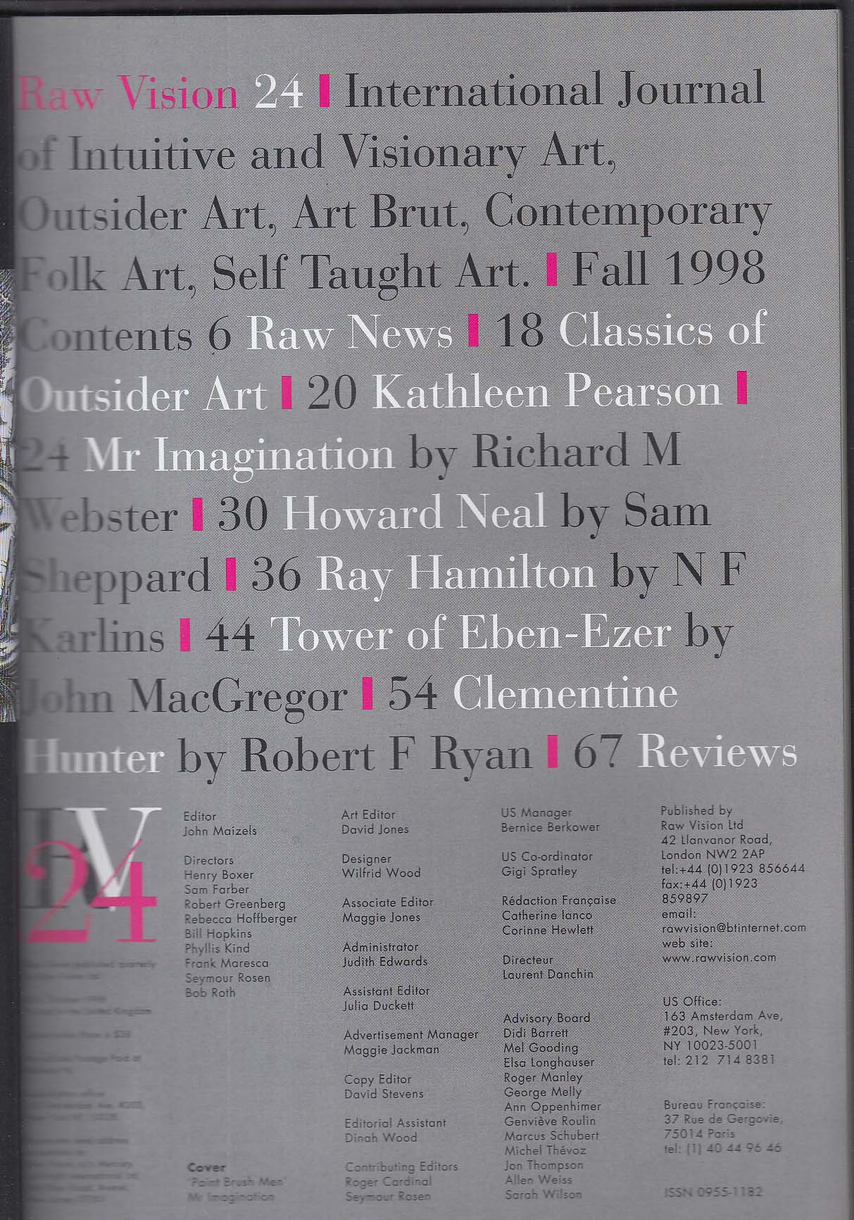 RAW VISION #24 Mr Imagination Clementine Hunter Robert Garcet + Fall 1998