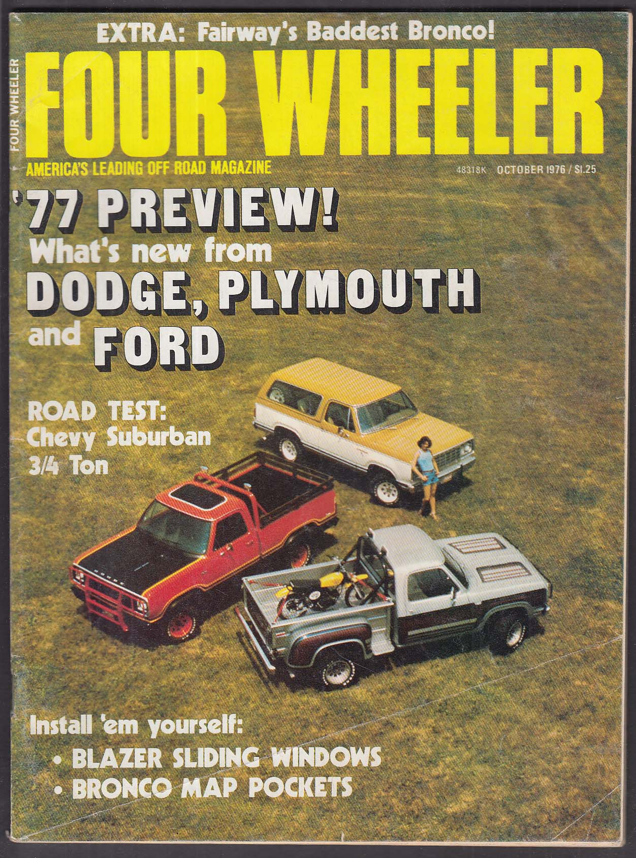 FOUR WHEELER Chevy Suburban road test Blazer Bronco + 10 1976