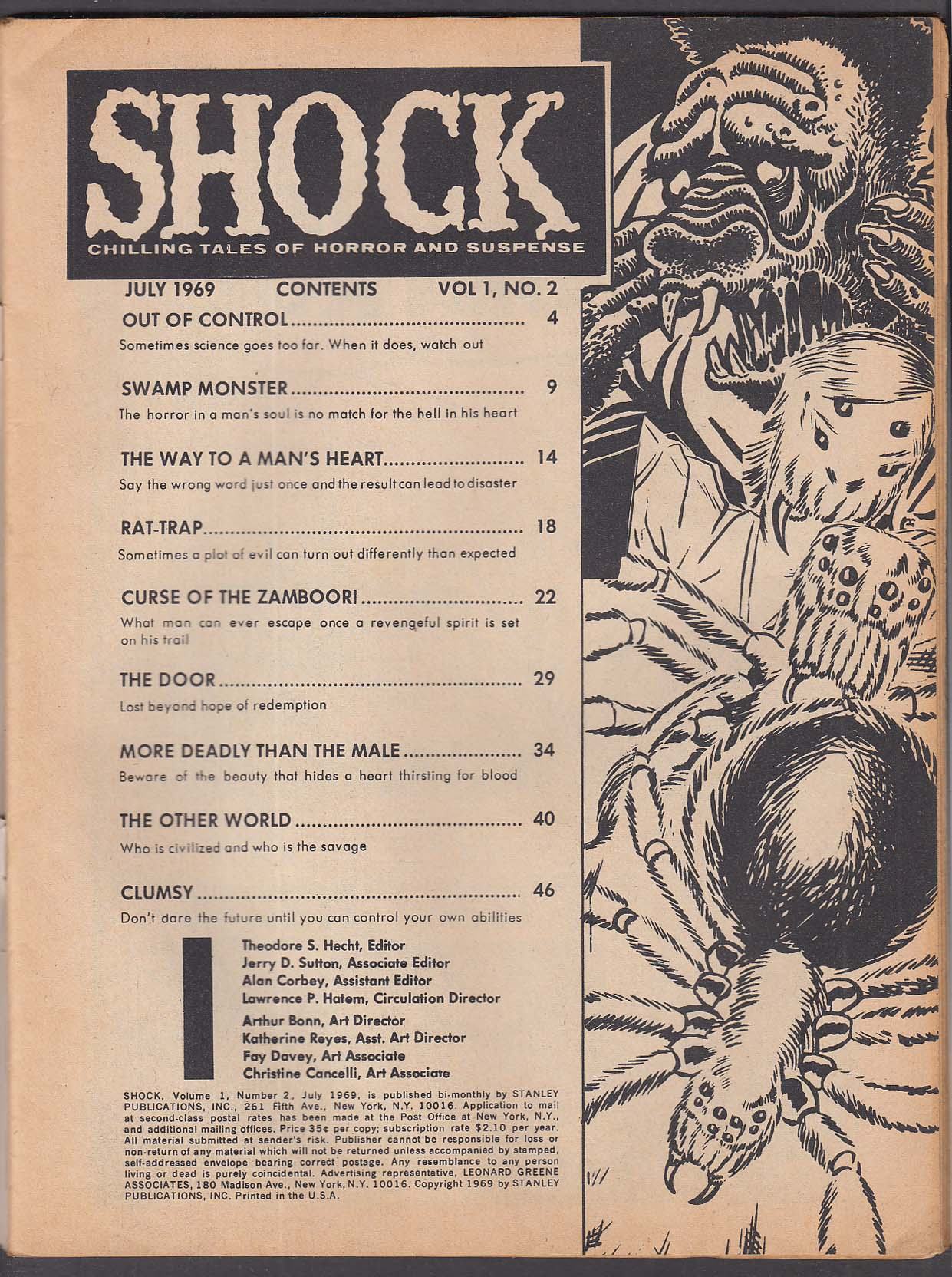 SHOCK #2 Stanley comic book 7 1969 Chilling Tales of Horror and Suspense